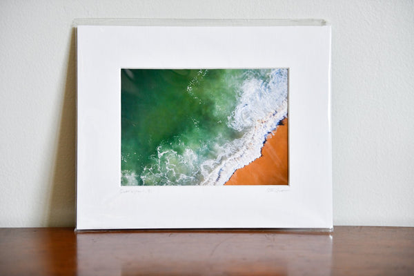 "Cate Brown Photo Shorebreak Aerial #1 // Matted Mini Print 8x10"" Available Inventory Ocean Fine Art"