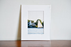 "Cate Brown Photo Catboat by Poplar Pt Light // Matted Mini Print 8x10"" Available Inventory Ocean Fine Art"