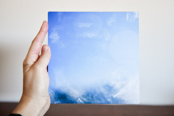 "Cate Brown Photo Bokeh Blue #2 // Metal Print 7x7"" // Limited Edition 1 of 150 Available Inventory Ocean Fine Art"