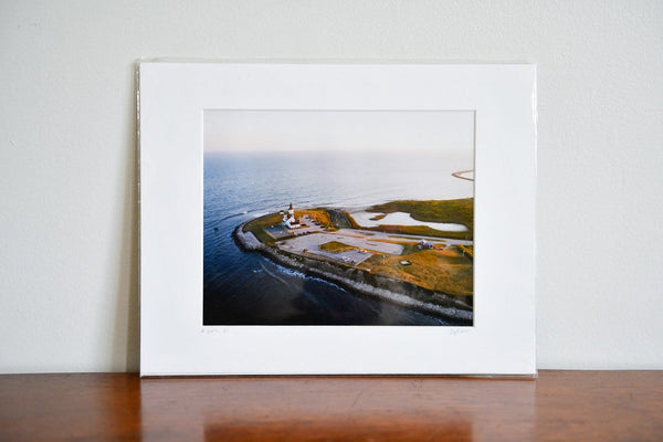 "Cate Brown Photo Point Judith Sunset Aerial #1 // Matted Mini Print 11x14"" Available Inventory Ocean Fine Art"