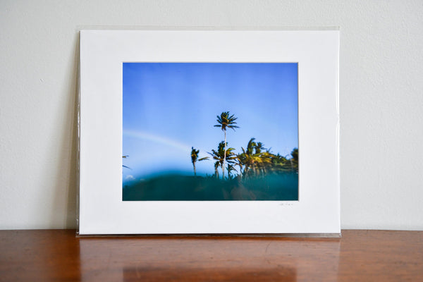 "Cate Brown Photo Palms & Rainbows // Matted Mini Print 11x14"" Available Inventory Ocean Fine Art"