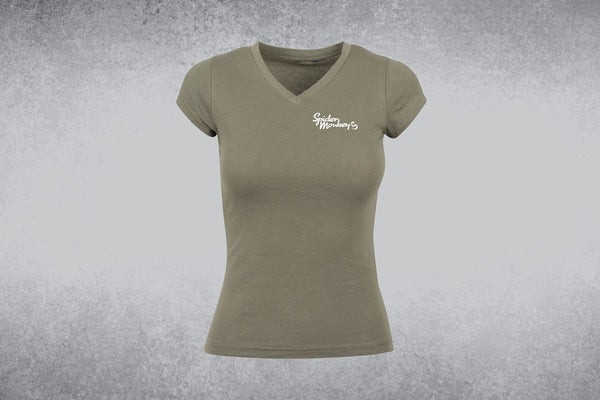Women's basic T-shirt with Small spider monkey words