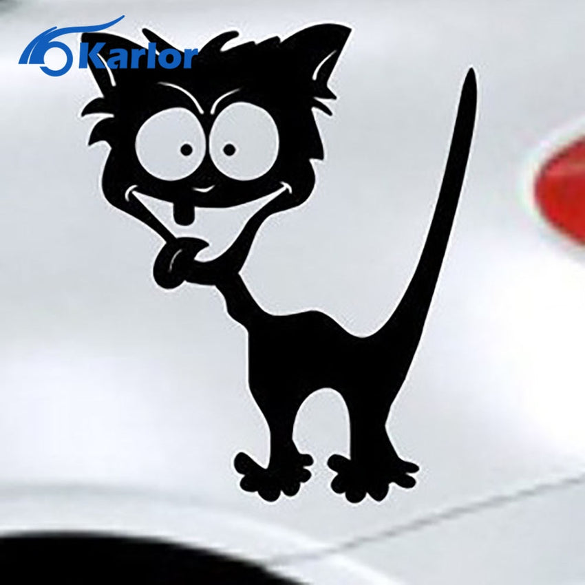 Car Styling Reflective Waterproof Vinyl Funny Crazy Cat Car Sticker Accessories for BMW Mazda Peugeot ford focus mercedes toyota