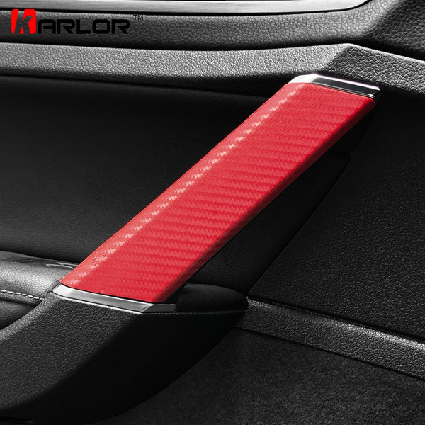 Interior Door Handle Trim Knob Carbon Fiber Protection Film Sticker Decal Car Styling For Volkswagen VW Golf 7 MK7 Accessories