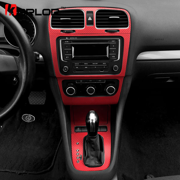 Volkswagen Golf 6 MK6 GTI Interior Central Control Panel Carbon Fiber Protection Stickers Decals Car styling For VW Accessories