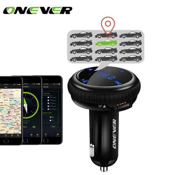 Onever FM Transmitter Car Mp3 Player with Car GPS Tracker FM Modulator Bluetooth Hands Free Car Kit with Dual USB Car Charger