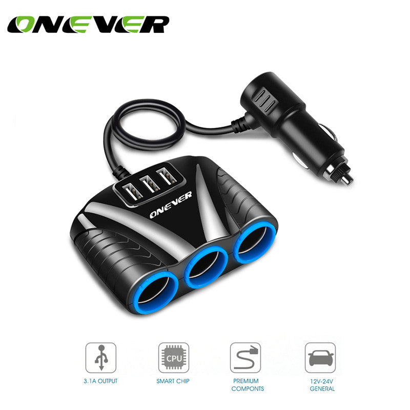 Onever 5V3.1A Car Power Adapter 1 to 3 Car Cigarette Lighter Socket Splitter  for iPhone iPad Smartphone Car Kits DVR GPS