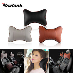 PU Leather Car Neck Pillow Memory Foam Fabric Neck Headrest Car Covers Vehicular Pillow Car Seat Cover Headrest