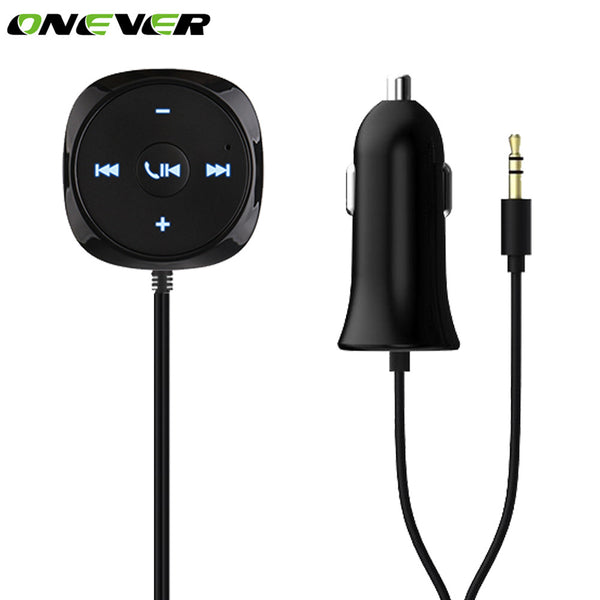 Onever Car MP3 Player Receiver 3.5mm AUX + Car Charger Bluetooth A2DP Hands-free Car Stereo Car Kit With Mic Support IOS Siri