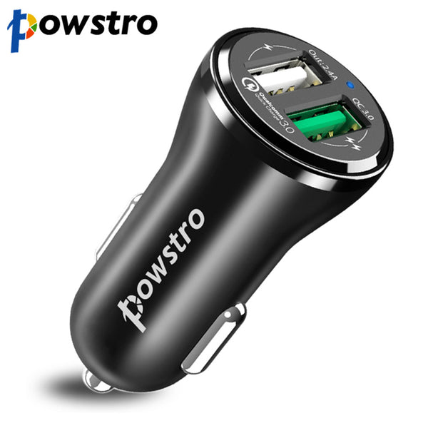 Powstro Dual USB Car Charger Quick Charge 3.0 Car charger Mobilephone adapter for iPhone 7 Samsung Xiaomi Car Phone Charger