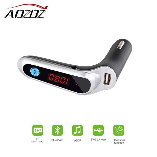 AOZBZ USB Car Charger Bluetooth FM Transmitter Wireless In-Car FM Adapter Car Kit With TF/USB Flash Drives Music Player