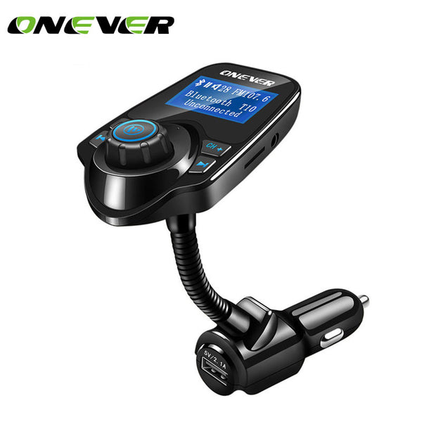 Onever MP3 Player Car Bluetooth Audio Car Kit Handsfree Car FM Transmitter Wireless FM Modulator LCD Display USB Charger Black