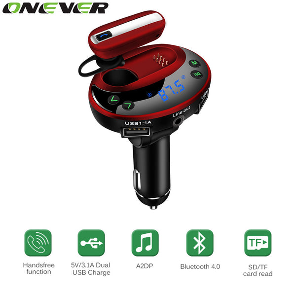 Onever Bluetooth 4.0 Handsfree Car Kit FM Transmitter Modulator Car MP3 Player 3.1A Car-Charger with Bluetooth Wireless Headset