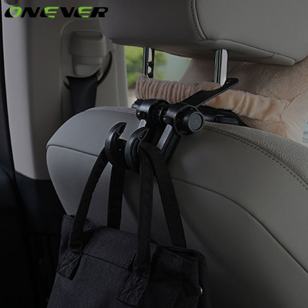 Onever Car Styling Auto Car Back Seat Headrest Hanger Holder Hooks Clips For Bag Purse Cloth Grocery Car Interior Accessories