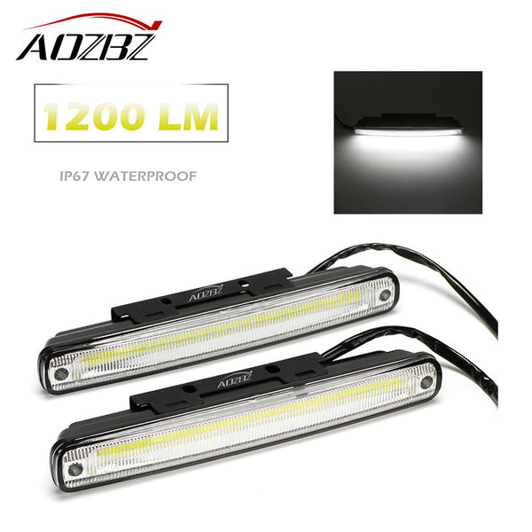 Aozbz 2pcs Waterproof Car COB DRL Daytime Running Light Car Fog Lamp for Car 10W Car LED Lights Lumen 1200LM Day Light