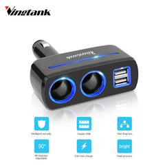 Vingtank 2 Sockets Way Car Dual 2 USB Car Charger Cigarette Lighter / Splitter Power Adapter for iphone for samsung Car DVR GPS