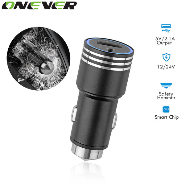 Onever Handsfree Wireless Bluetooth Car FM Transmitter Car MP3 Player USB Charging Kit with Hammer Emergency Car-Styling