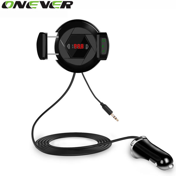 Onever Car Bluetooth 4.0 FM Transmitter Modulator Handsfree Car Kit Car MP3 with Free Phone Holder Stand 5V 2.1A Car Charger