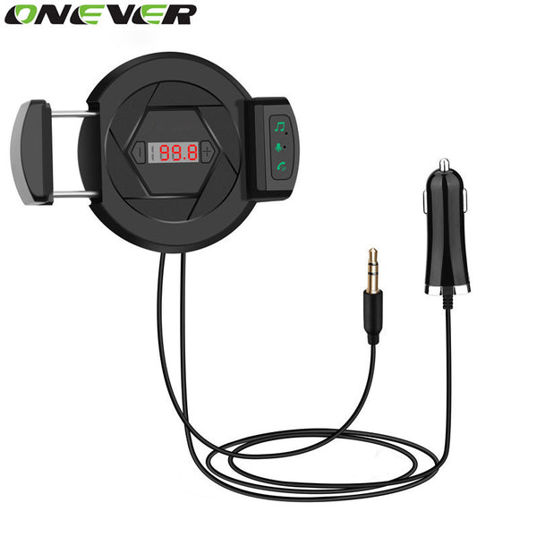 Onever Blutooth 4.1 FM Transmitter Handsfree Car Kit with Mic with Car Phone Holder USB Charger Car Audio MP3 Player AUX Input