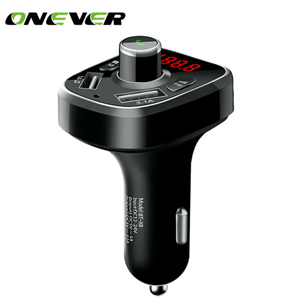 Onever Bluetooth Car Kit Music Player FM Transmitter Car Kit MP3 Modulator 3.4A Dual USB Car Charger For Iphone 8 8Plus