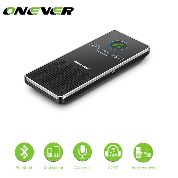 Onever Wireless Handsfree Bluetooth Car Kit Elegant Hands Free Calling Transmitter Car Speakerphone With Car Charger White Black