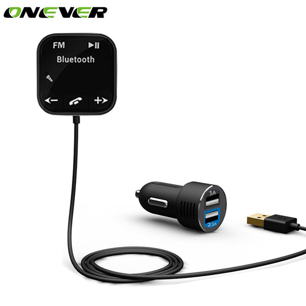Onever Magnet Adsorption Car Bluetooth FM Transmitter Car Kit Hands Free MP3 Player Dual USB Car Charger For iPhone Mobile Phone