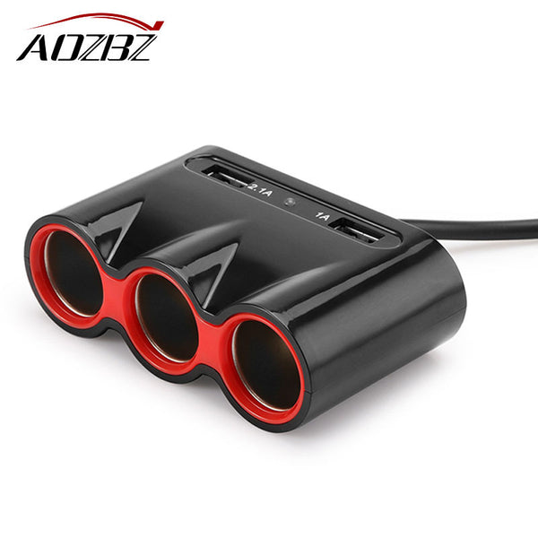 Aozbz 120W Car Cigarette Lighter Socket 3.1ADual USB Car Charger Adapter Support Smart Fast Charging 12V Car power adapter black