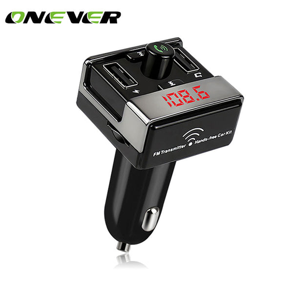 Onever Car Bluetooth FM Transmitters Handsfree Car Kit FM Radio Car MP3 Player TF U Disk 2 USB Car Charger LED Display DC 12-24V