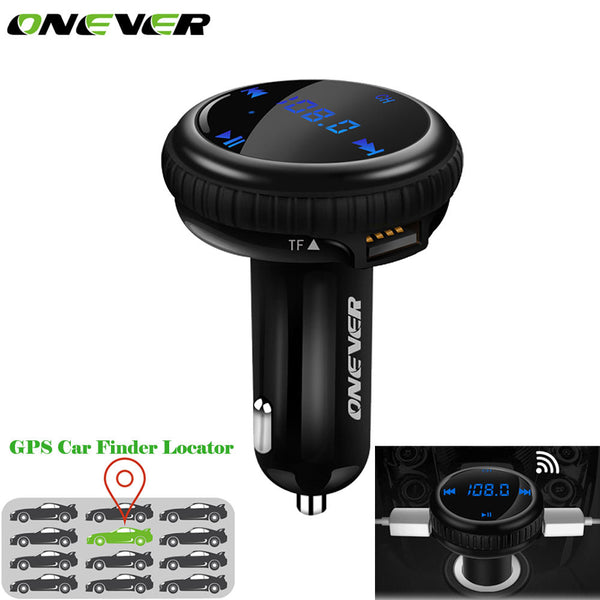 Onever Car MP3 Player FM Transmitter Wireless Bluetooth Car Kit Modulator APP GPS Car Finder Locator 2.1A Dual USB Car Charger