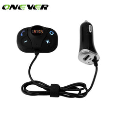 Onever FM Transmitter Modulator Bluetooth Handsfree Car Kit Car MP3 Player with 2.1A  Dual USB Car Charger SD TF Music Playing