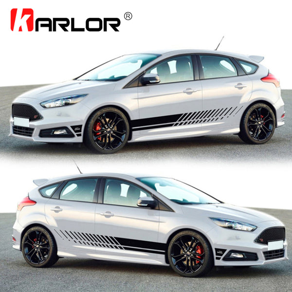 Universal Racing Car Waist Side Skirt Decoration Sticker Decal Vinyl For Auto Scirocco Golf Fiesta Mini Cooper Seat Leon Smart