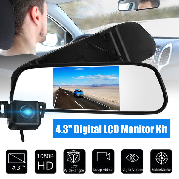 4.3 Inch LCD Mirror Monitor Wireless HD LED Reversing Camera Car Rear View Kits