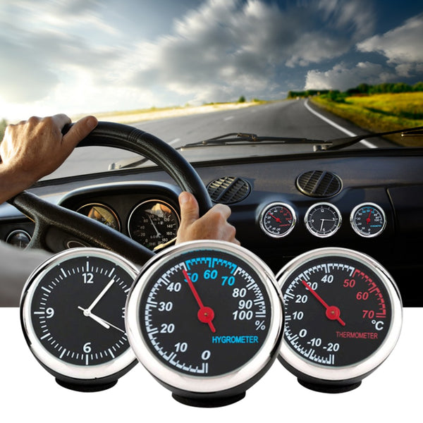 Round Shape Car Automobile Digital Clock Auto Watch/Thermometer/Hygrometer Car Interior Decoration Ornament Car Styling