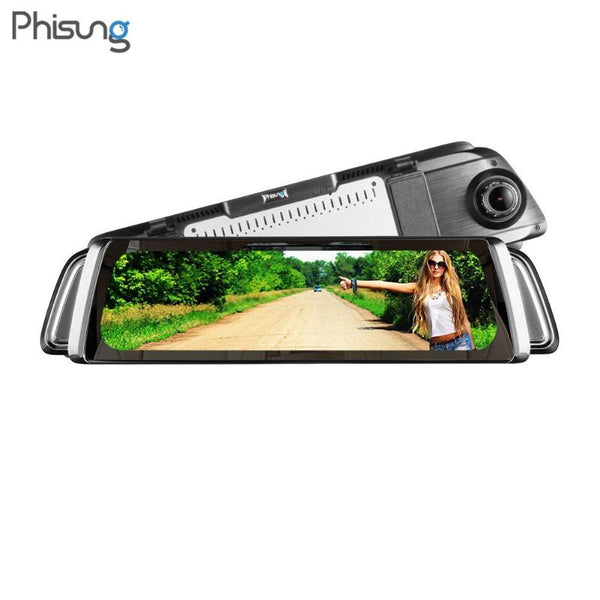 Phisung G900 9.35in Touch Screen Dual Len HD 1296P Car Rearview Mirror DVR Camera Video Recorder Starlight Night Vision Dash Cam