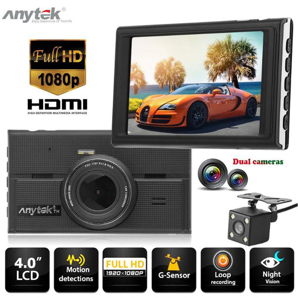 Anytek G68 4.0 Inch 1080P Dual Lens Car DVR Camera Video Recorder G-sensor Night Vision Dash Cam Video Registrars for Cars DVR