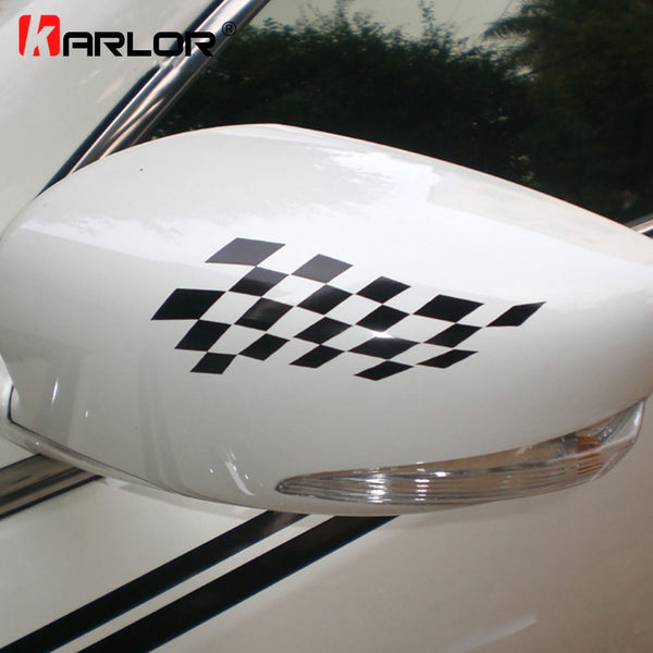 Racing style grid pattern car rear view mirror decor sticker,car-styling rear view mirror cover,die cut waterproof vinyl labels