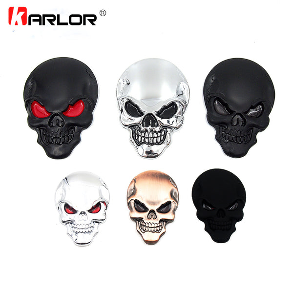 New 3D Car auto body skull sticker emblem decal skull car sticker metal badge car styling accessories Motorcycle Free Shipping