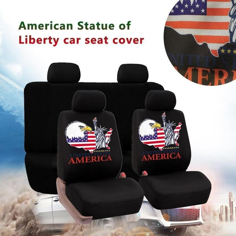 Universal Car Seat Covers Car Interior Decor Fashion American Statue of Liberty Pattern Auto Seat Cover Car Seat Protector