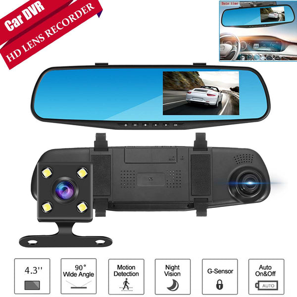 HD 1080P Car Dvr 4.3 Inch Dash Cam Automatic	Rear View Mirror Dual Lens DVR Camera AutoRecorder Car DVR