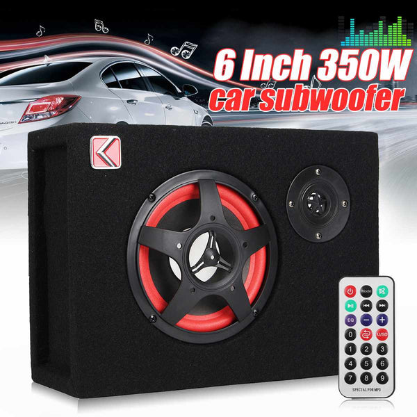 6 Inch 350W Under-Seat Car Active Subwoofer Speaker Stereo Bass Audio Powered Car Subwoofers Amplifier Active Subwoofer Car