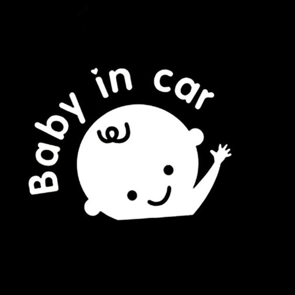 Waterproof car sticker Baby in car waving doll reflective car sticker black for Easy to Apply