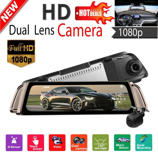 Phisung K1000 9.35 Inch IPS Car Rearview Mirror DVR Camera 1080P FHD Dual Lens Video Recorder Dash Cam G-senor with GPS/TF Card
