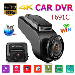 T691C Front 4K 2160P Car DVR Camera 1080P FHD Dash Cam With 32GB TF Card Dual Lens with WiFi and GPS Camera Recorder Promotion