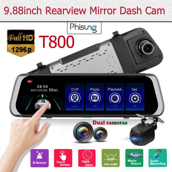 Phisung T800 1296P+720P Dual Lens Night Vision Car DVR Camera 9.88 Inch 2.5D IPS Rearview Mirror Dash Cam Wide Dynamic Range DVR
