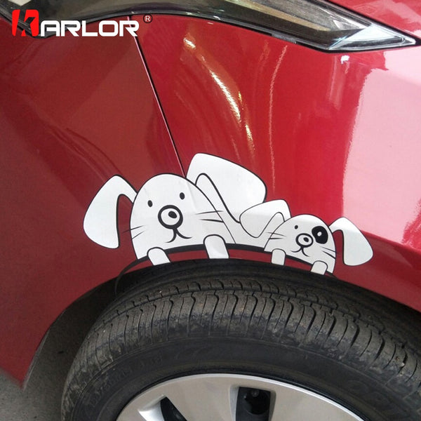 Reflective Cute Rabbit Car Stickers Decals Vinyl Car Wheel Eyebrow Decoration Cover Body Scratches Auto Car Styling Accessories