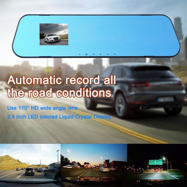 2.4 Inch Car DVR 110 Degree Rear-view Mirror Vehicle Traveling Data Recorder HD Wide Angle Len & LED Liquid Crystal Display Hot