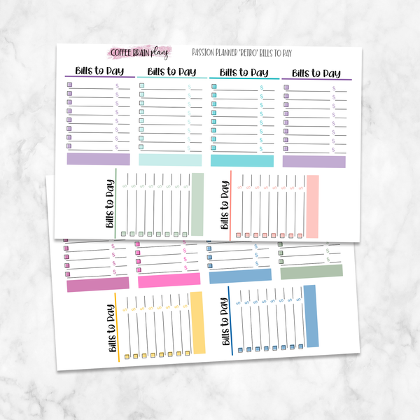 Bills to Pay Boxes Passion Planner Medium Stickers
