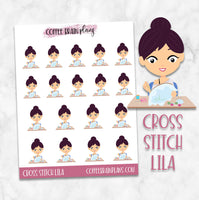 Cross Stitch Lila Hobbies Character Planner Stickers