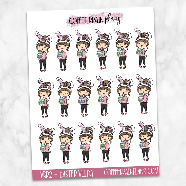 Easter Bunny Velda Hand-Drawn Character Planner Stickers