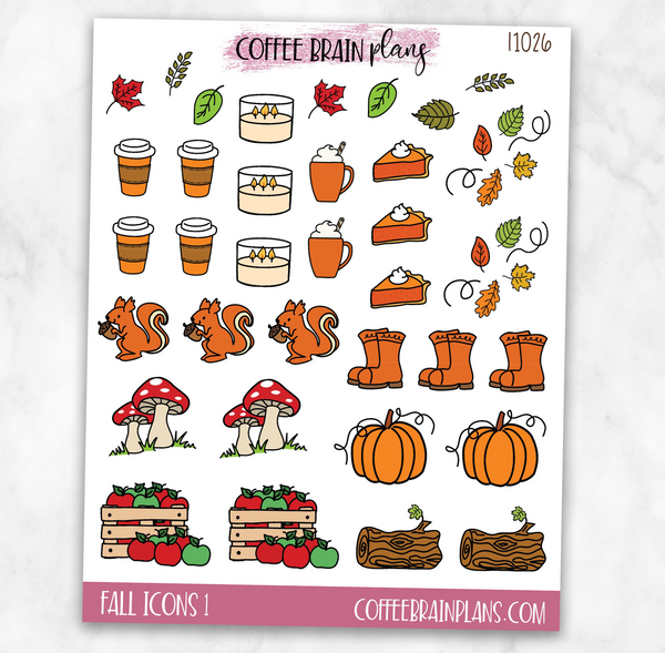 Fall Icons Sheet 1 Planner Stickers